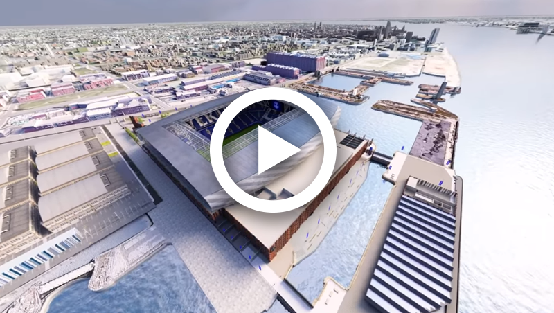 Flythrough of New Everton Stadium at Bramley-Moore Dock