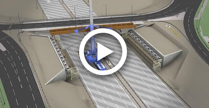 M6 Junction 10 bridge beam lift