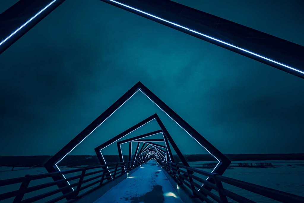 The High Trestle Trail Bridge over the Des Moines River Valley between Woodward and Madrid in Central Iowa, United States.